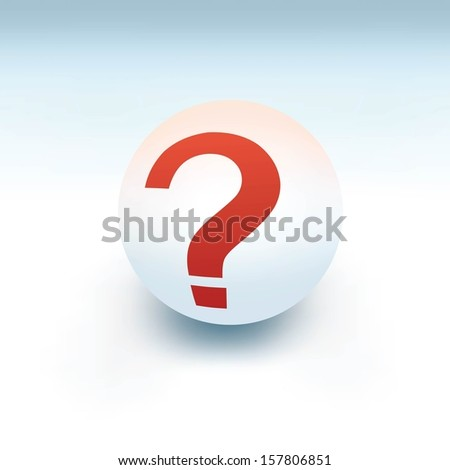 question mark on white ball, 3d like vector