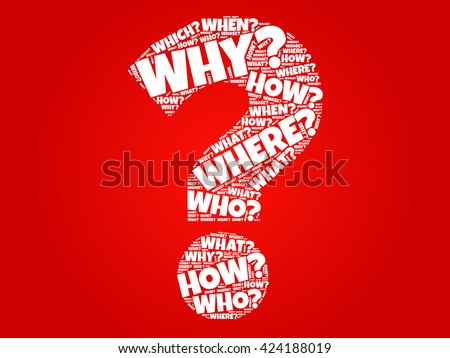Question mark, Question words cloud business concept - stock vector
