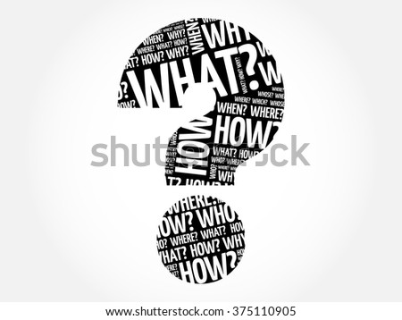 Question mark, Question words cloud business concept collage - stock vector