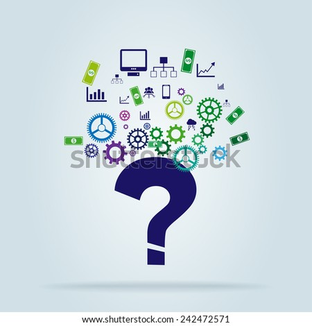 Question mark shape with gear wheels and business icons - stock vector