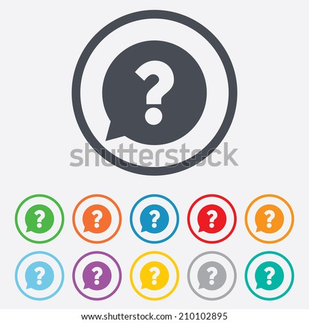 Question mark sign icon. Help speech bubble symbol. FAQ sign. Round circle buttons with frame. Vector - stock vector