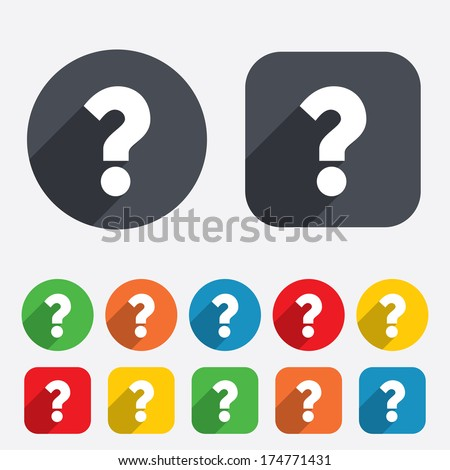Question mark sign icon. Help symbol. FAQ sign. Circles and rounded squares 12 buttons. Vector - stock vector