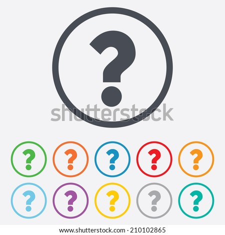 Question mark sign icon. Help symbol. FAQ sign. Round circle buttons with frame. Vector - stock vector