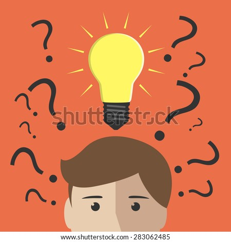 Question marks and one glowing light bulb above head of young man or boy. Insight, inspiration, eureka, aha moment, making decision, thinking concept. EPS 10 vector illustration, no transparency - stock vector