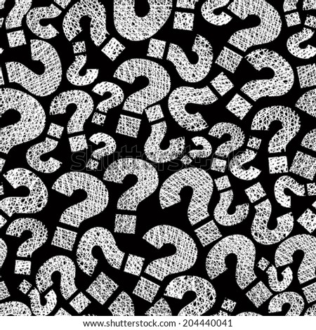 Question marks seamless pattern, vector, hand drawn lines textures used. - stock vector