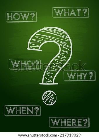 question sign and question words - white chalk text with symbol over green blackboard, business concept, vector - stock vector