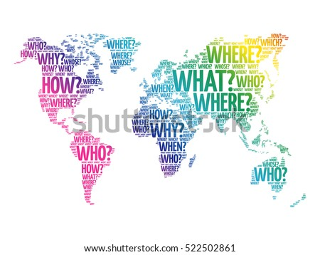Question words world map typography words stock photo photo vector question words world map in typography words cloud business concept background gumiabroncs Image collections