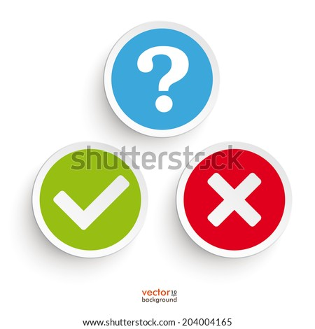 Question, yes and no round icons on the white background. Eps 10 vector file. - stock vector