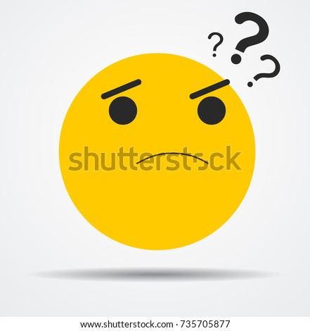 questioning emoticon in a flat design