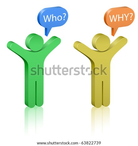 Questions: who and why? Social Media. Communication Concept. - stock vector
