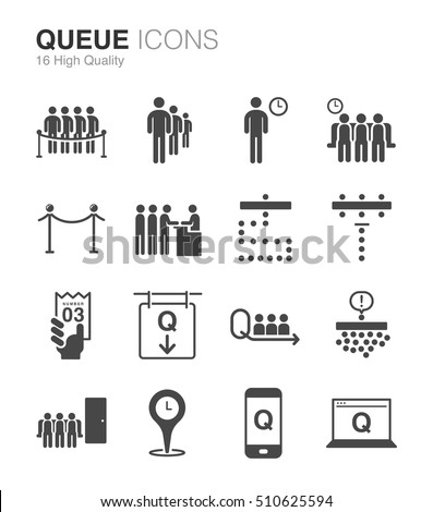 Queue waiting icons included icons waiting stock vector royalty queue and waiting icons included the icons as waiting people stand app ccuart Images