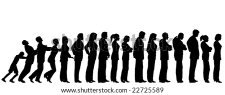 Queue of editable vector people silhouettes with boy pushing them like dominoes - stock vector
