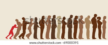 Queue of editable vector people silhouettes with impatient boy pushing them like dominoes - stock vector