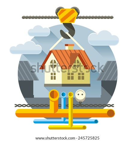 Quick construction of houses turnkey with communications - stock vector