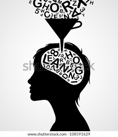 Quick learning woman silhouette isolated on white background - stock vector