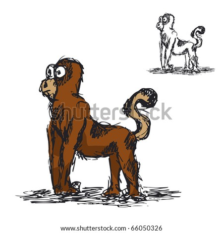 Quick sketch of Monkey. - stock vector
