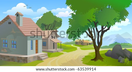 QUIET  AFTERNOON    IN A VILLAGE - stock vector
