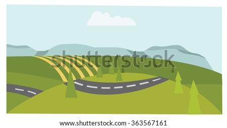Quiet green country road - stock vector