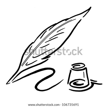Quill and Ink Pot - stock vector
