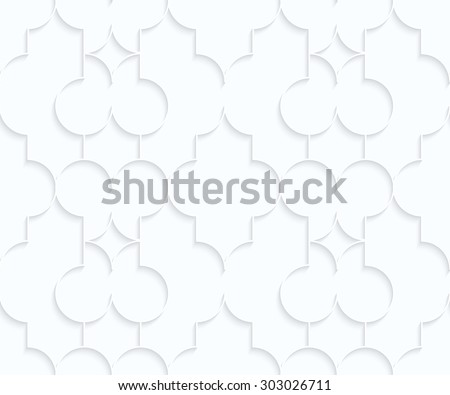 Quilling white paper Marrakech with diamonds.White geometric background. Seamless pattern. 3d cut out of paper effect with realistic shadow.