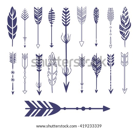 Quills And Arrows Graphic Collection Flat Vector Icons In Cool Doodle Style - stock vector