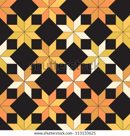 Quilt in black and yellow shades seamless pattern, vector - stock vector