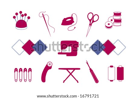 Quilt, Patchwork Tools for DIY craft, hobby: pin cushion, needle, iron, scissors, bobbins, fabrics, sewing machine, safety pins, rotary blade cutter, ironing board, seam ripper, fashion thread.  EPS8.