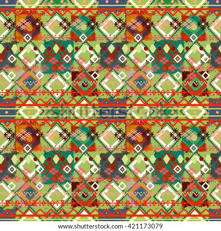 Quilted, boho seamless pattern, patchwork, rustic style. Background texture, wallpaper, wrapping