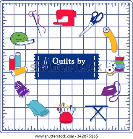 Quilting Icons for DIY sewing: pins, pincushion, needle, thread, iron, ironing board, scissors, bobbins, cloth, sewing machine, rotary cutter, thimble, tape measure, label on self healing cutting mat. - stock vector