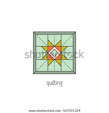 Quilting vector thin line icon patchwork stock vector royalty free quilting vector thin line icon patchwork blanket handmade quilt colored isolated symbol reheart Choice Image
