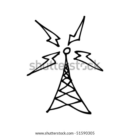 quirky drawing of a broadcast tower - stock vector