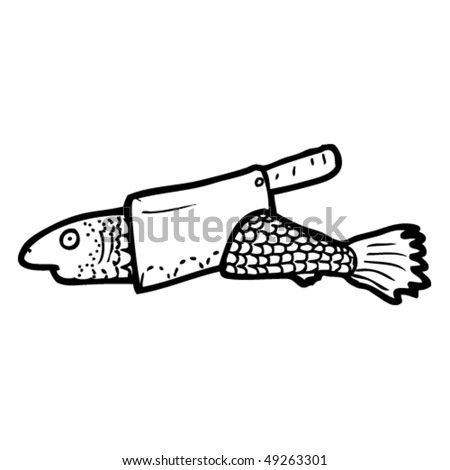 quirky drawing of a chopped fish - stock vector