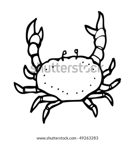 quirky drawing of a crab - stock vector