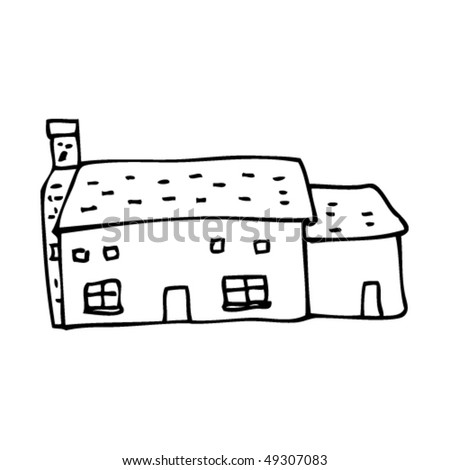 quirky drawing of a farm house - stock vector