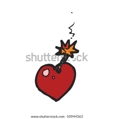 quirky drawing of a love bomb - stock vector