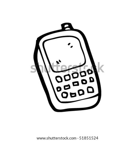 quirky drawing of a mobile phone - stock vector