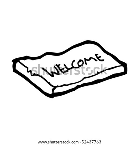 quirky drawing of a welcome mat - stock vector