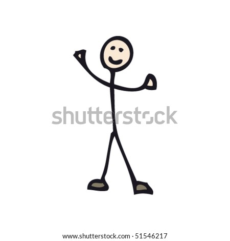 quirky drawing of happy  stick man