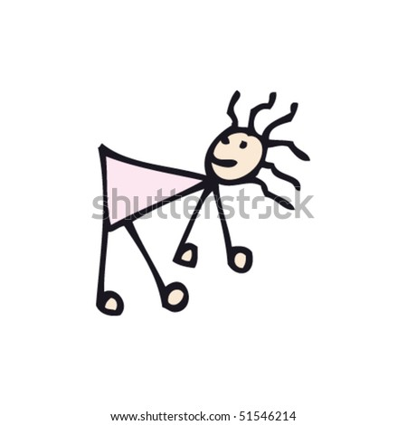 quirky drawing of stick woman bent over - stock vector