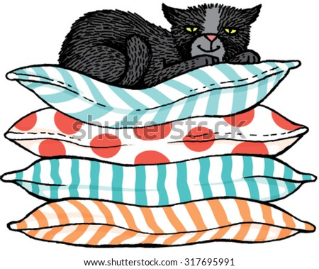 Quirky hand drawn vector sketch of a black cat sitting comfortably on top of a pile of cushions. - stock vector