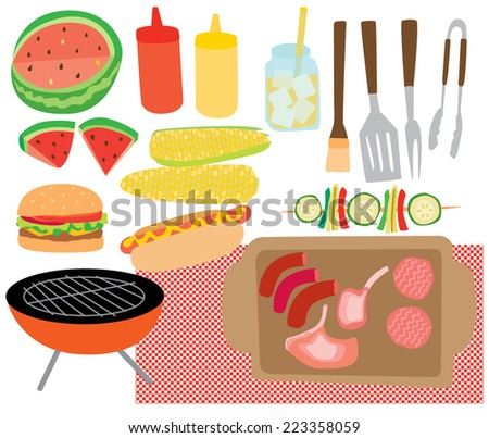 Quirky Vector BBQ Party Foods - stock vector