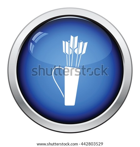Quiver with arrows icon. Glossy button design. Vector illustration.