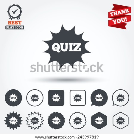 Quiz boom speech bubble sign icon. Questions and answers game symbol. Circle, star, speech bubble and square buttons. Award medal with check mark. Thank you. Vector - stock vector