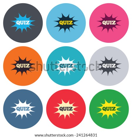 Quiz boom speech bubble sign icon. Questions and answers game symbol. Colored round buttons. Flat design circle icons set. Vector - stock vector