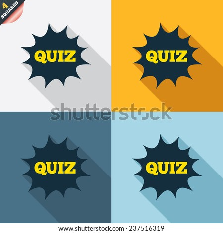 Quiz boom speech bubble sign icon. Questions and answers game symbol. Four squares. Colored Flat design buttons. Vector - stock vector