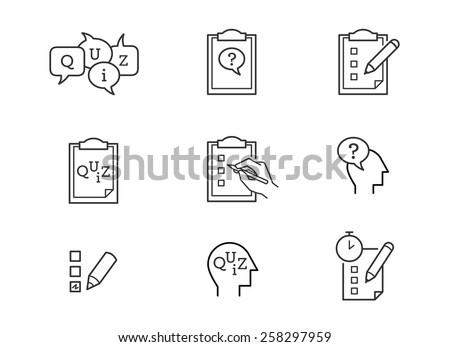 Quiz icons - stock vector