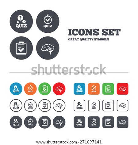 Quiz icons. Human brain think. Checklist and stopwatch timer symbol. Survey poll or questionnaire feedback form sign. Web buttons set. Circles and squares templates. Vector - stock vector