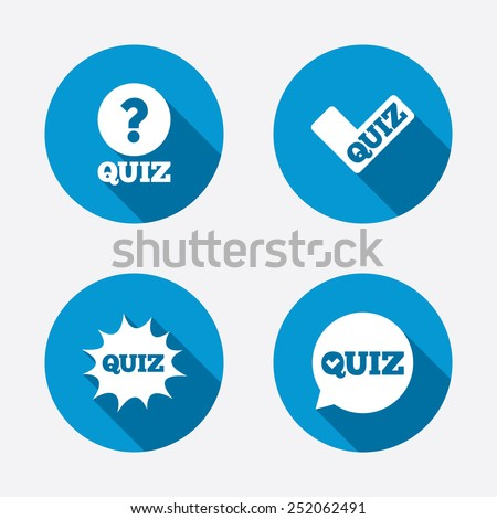 Quiz icons. Speech bubble with check mark symbol. Explosion boom sign. Circle concept web buttons. Vector - stock vector