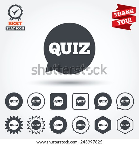 Quiz speech bubble sign icon. Questions and answers game symbol. Circle, star, speech bubble and square buttons. Award medal with check mark. Thank you. Vector - stock vector