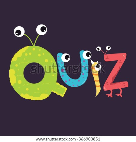 quiz text fun kids character fun alphabet with eye